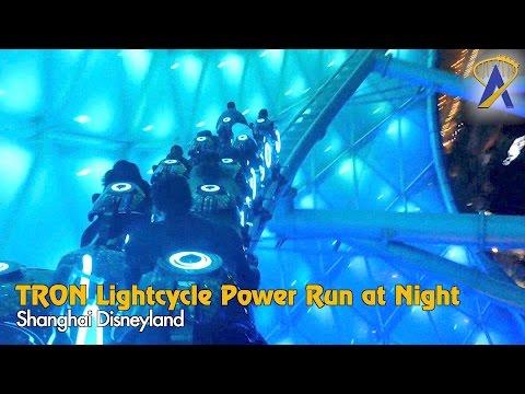 TRON Lightcycle Power Run Nighttime POV Shanghai Disneyland