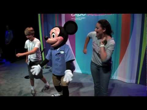 Mickey Mouse dancing and talking with guests at D23 Expo 2011