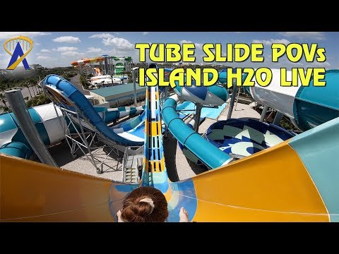 Tube Slide POVs at Island H20 Live Water Park - Follow Me Falls, Reload Rapids and The Downloader