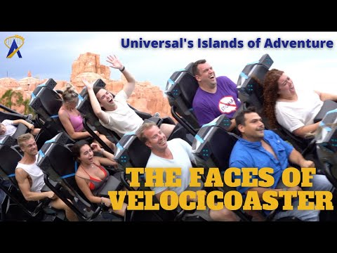 Happy, Funny, Fearful Faces in Slow Motion on Jurassic World VelociCoaster, Universal Orlando