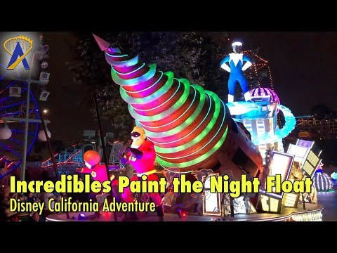 Incredibles Float in Paint the Night Parade at Disneyland