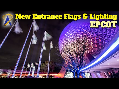 Re-Imagined Epcot Entrance Debuts New Fountains, Flags and Lighting Effects