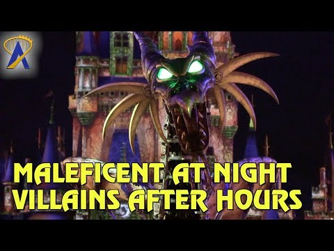 Maleficent the Dragon roams Magic Kingdom at night during Villains After Hours