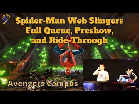 Full Web Slingers: A Spider-Man Adventure Ride-Through, Queue and Preshow POV in Avengers Campus