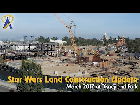 AT-ATs being built inside Star Wars land at Disneyland