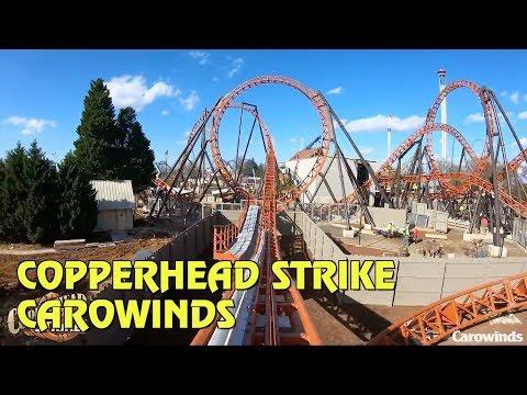Copperhead Strike Roller Coaster POV at Carowinds