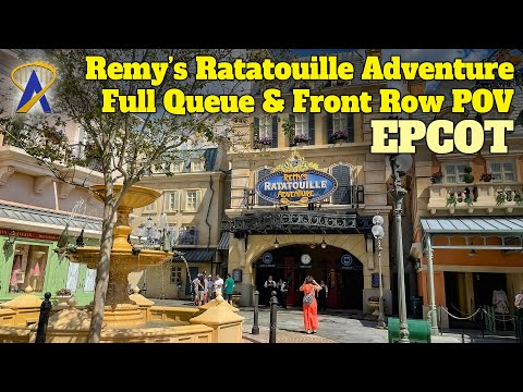 Remy's Ratatouille Adventure at Epcot –FULL Queue and Front Row POV 4K