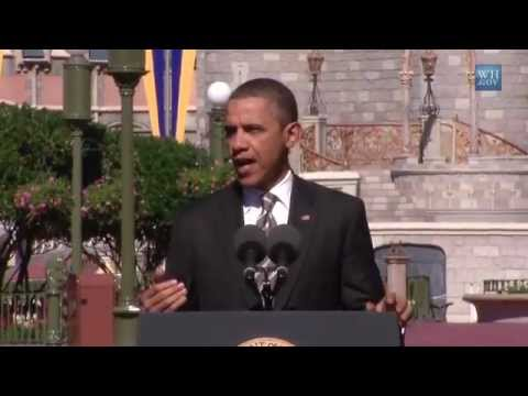 President Barack Obama speech at the Magic Kingdom about tourism - Walt Disney World