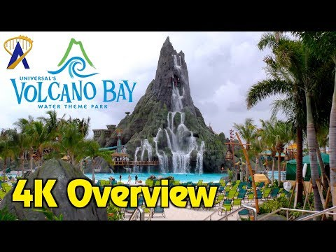 4K Overview of Universal's Volcano Bay Water Theme Park