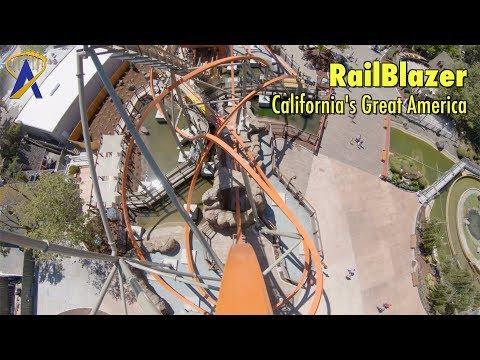 RailBlazer Single Rail Steel Coaster POV at California's Great America