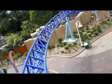 Front Row Manta roller coaster ride-through at SeaWorld San Diego