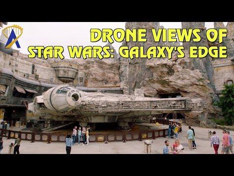 Drone Fly-Through of Star Wars: Galaxy's Edge at Disneyland