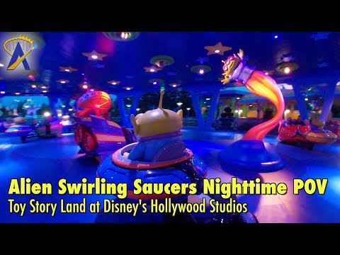 Alien Swirling Saucers FULL Nighttime POV in Toy Story Land