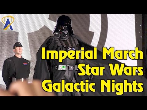 Imperial March featuring Darth Vader and his Stormtroopers during Star Wars Galactic Nights