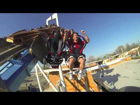 Cedar Point GateKeeper onride cam - Slotting through keyhole towers roller coaster