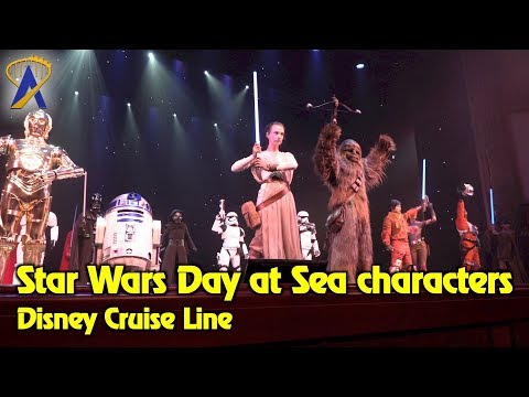 Star Wars characters appear together during Star Wars Day at Sea on Disney Cruise Line