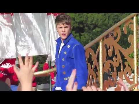 Justin Bieber singing for the Disney Parks Christmas Day Parade at Magic Kingdom