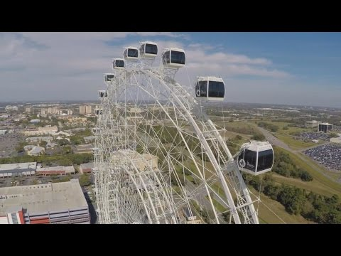 Drone's-Eye view of The Orlando Eye observation wheel