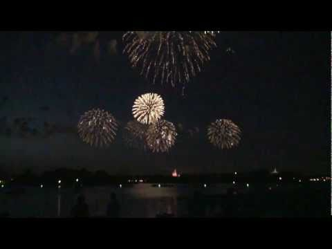 Disney's July 4th fireworks show from Polynesian Resort beach 2011