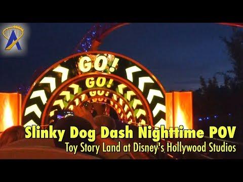Slinky Dog Dash Roller Coaster FULL Nighttime POV in Toy Story Land