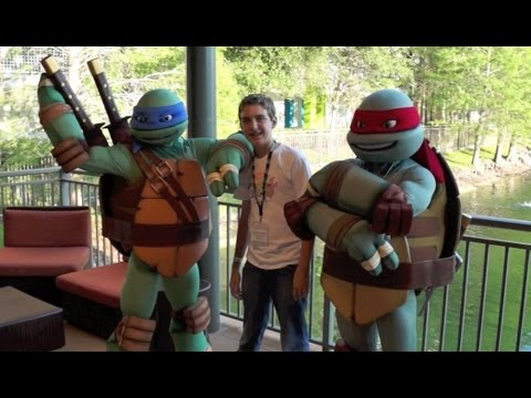 Teenage Mutant Ninja Turtles arrive at Nick Hotel - Meet TMNT characters in Orlando Florida