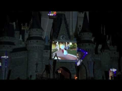 """Disney Cinderella Castle projection test for the """"Let the Memories Begin"""" campaign"""