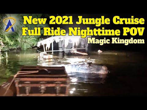 New 2021 Jungle Cruise Full Ride POV Update at Night – Walt Disney World