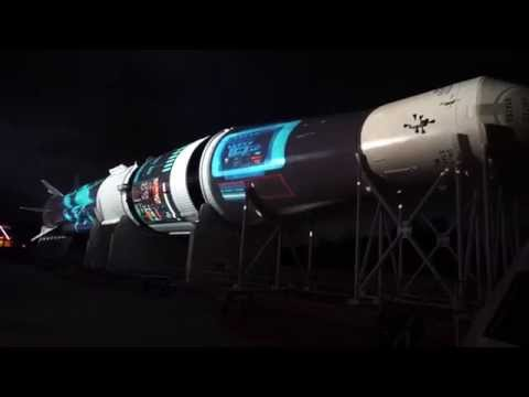 Holiday projection show on a Saturn IB rocket at Kennedy Space Center 2014
