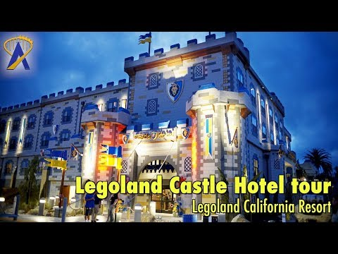 Legoland Castle Hotel tour - lobby, restaurant, pool at Legoland California Resort