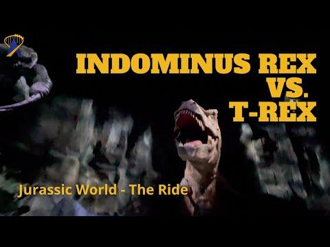Indominus Rex Vs. T-Rex at Jurassic World - The Ride: Full POV