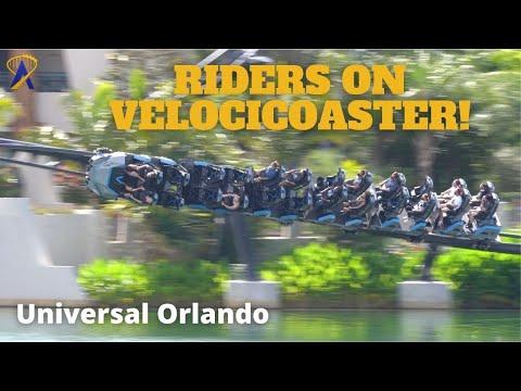 Team Members Riding Jurassic World VelociCoaster at Universal Orlando
