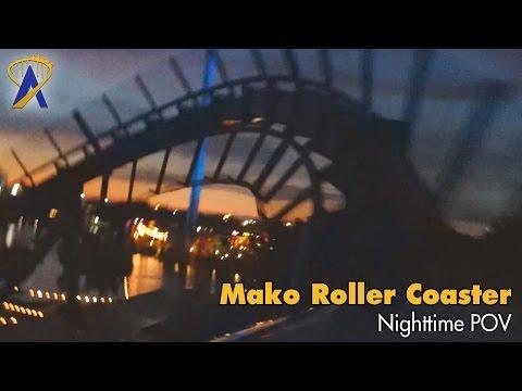 Mako Roller Coaster Nighttime POV at SeaWorld Orlando