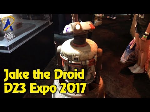 Jake the Star Wars Droid roams around Disney Parks and Resorts Pavilion at D23 Expo 2017