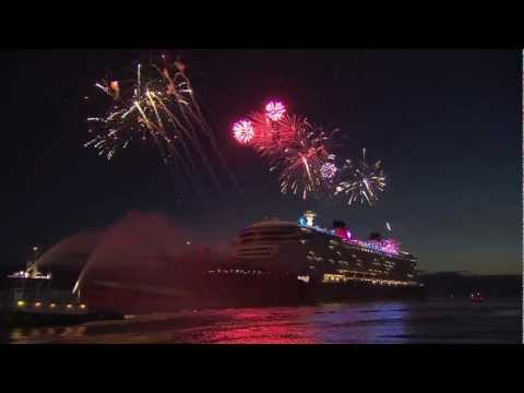 Disney Fantasy cruise ship arrives at Port Canaveral with fireworks and characters