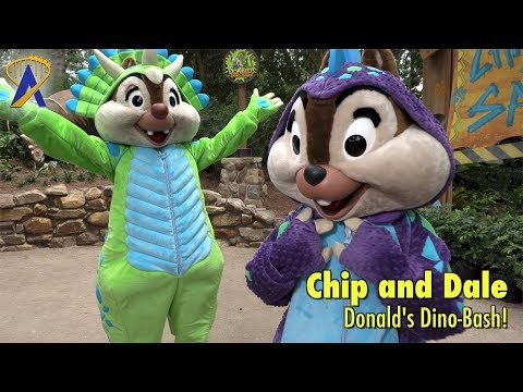 Chip 'n Dale meet guests during Donald's Dino-Bash at Disney's Animal Kingdom