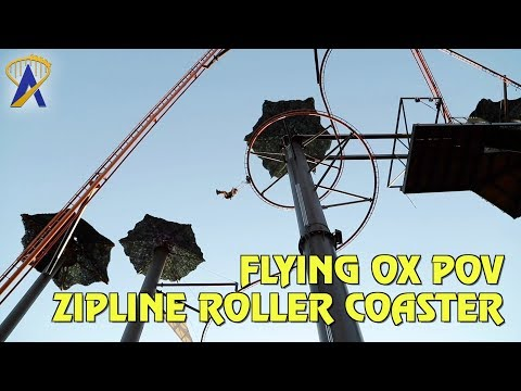 Flying Ox Zipline Roller Coaster POV at Paula Deen's Lumberjack Feud Show & Adventure Park