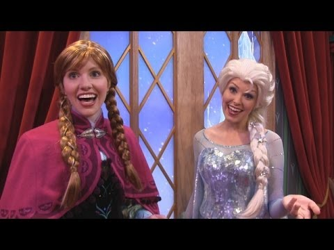 Anna & Elsa from Frozen meet guests in Norway Pavilion at Epcot