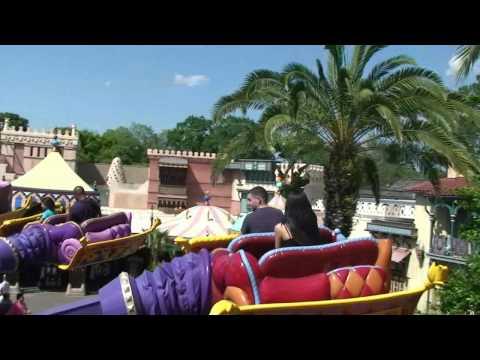 Fly over Adventureland on The Magic Carpets of Aladdin at Magic Kingdom