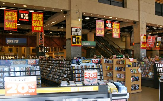 The Virgin Megastore liquidation sale continues until the closing next month. There's no word when the percent off will increase but we'll let you know when they do here on Attractions Blog. If you're interested, the fixtures are also for sale.