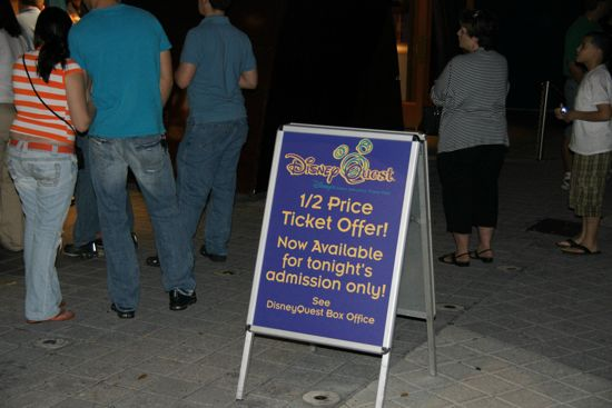 I'm not sure what nights or times the half-price sales start at DisneyQuest, but it's worth asking about if you're there in the evening.