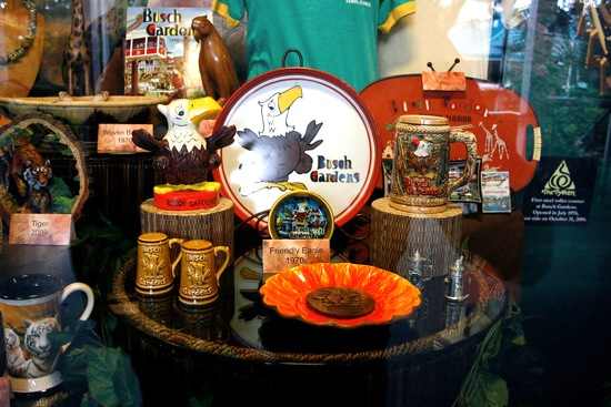 Some of the memorabilia on display from Busch Gardens' past 50 years.