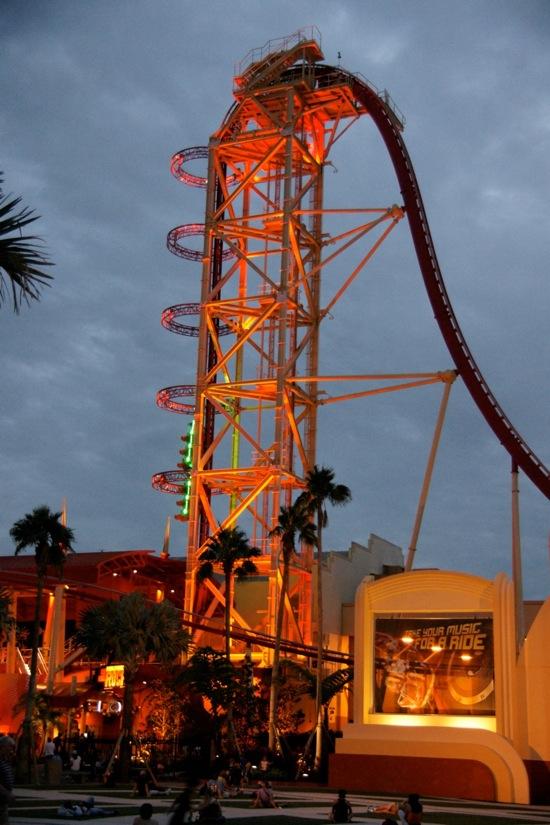 Hollywood Rip Ride Rockit at night