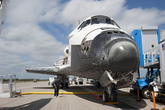The process to prepare a space shuttle orbiter for display ...