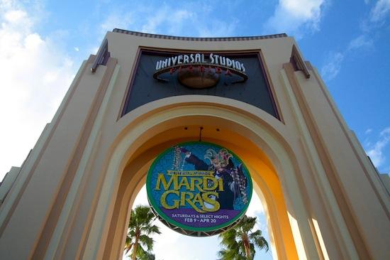 Universal Mardi Gras arch sign