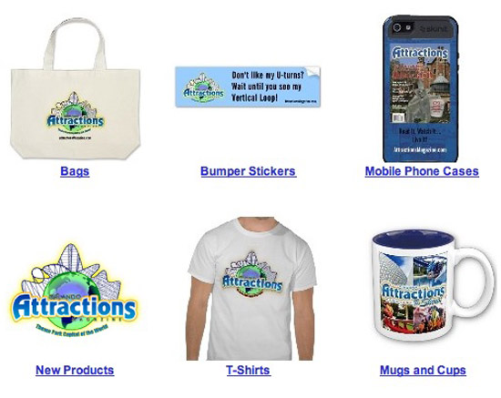 attractions logo t-shirts, mugs, bumper stickers, bahs and phone cases.
