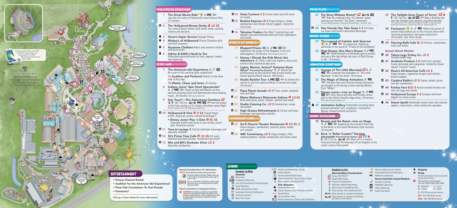 Hollywood Studios Map 2014 Pdf Hollywood Studios Map Inside