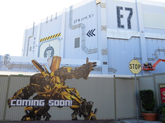 Transformers building and Bumblebee sign at Universal Studios