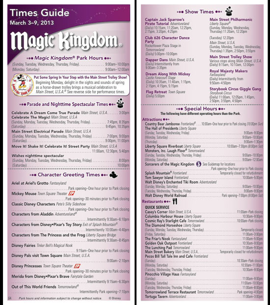 New Magic Kingdom times guide