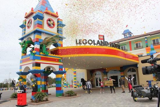 Legoland Hotel in California grand opening with confetti