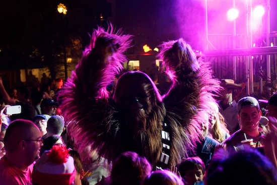 Chewbacca dancing for Disney Star Wars day dance party